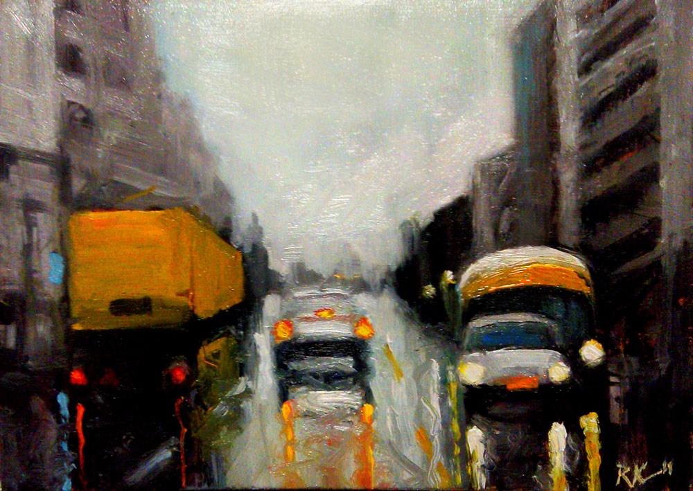 """Wet City Street"" original fine art by Bob Kimball"