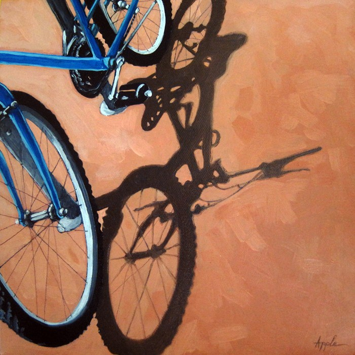"""Bicycle Art - realistic bike and shadows"" original fine art by Linda Apple"