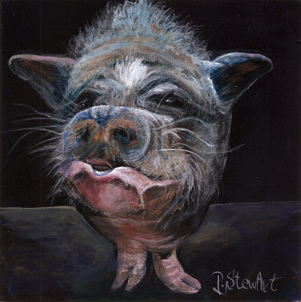 """6x6 Baby the Pot Bellied Pig Realistic Pet Portrait acrylic on wood 3/4 deep"" original fine art by Penny Lee StewArt"