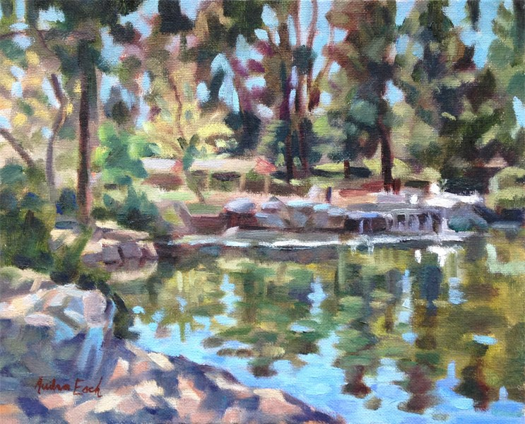"""Kenneth Hahn Park Pond #2"" original fine art by Audra Esch"