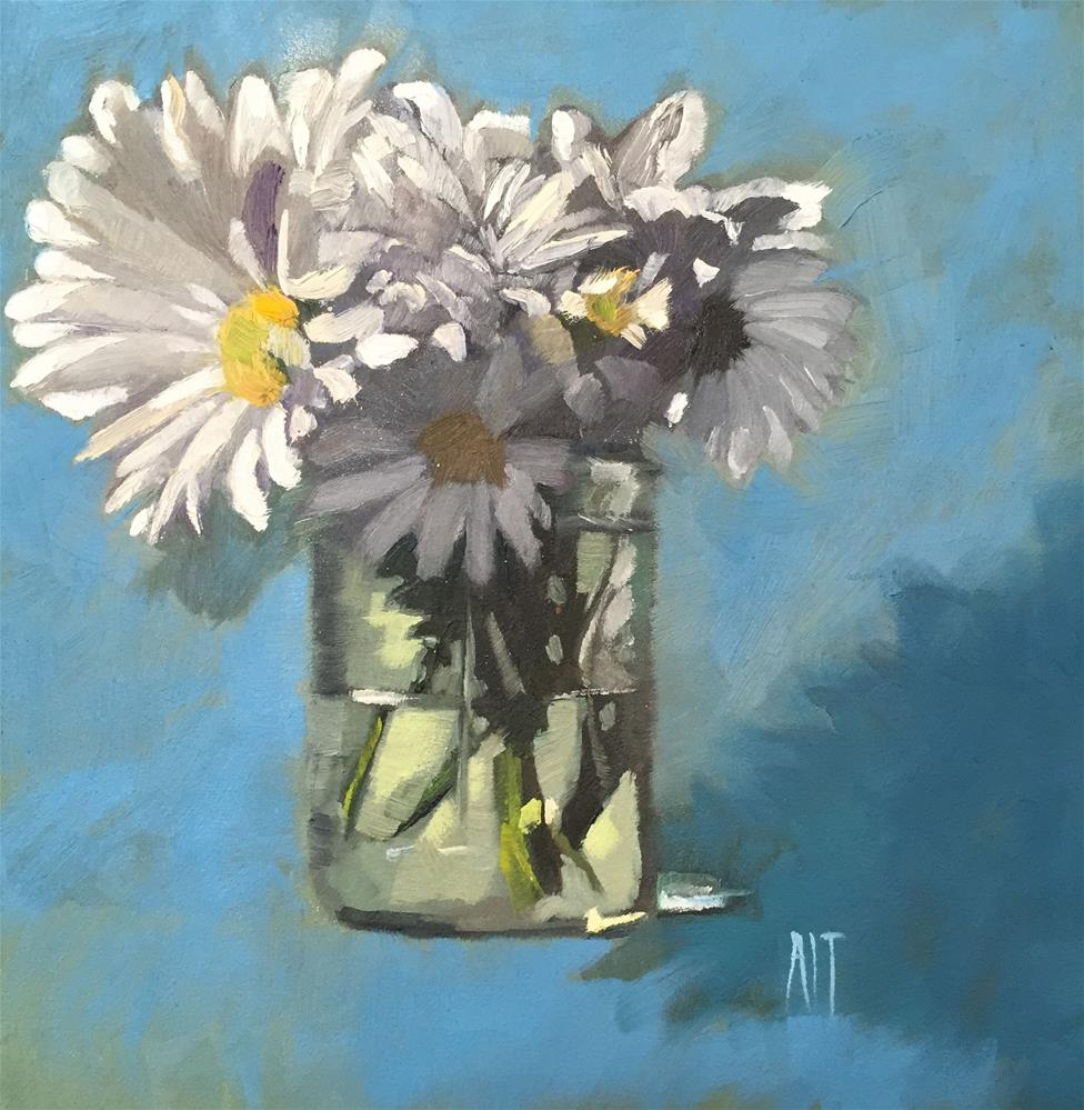 """daisies in mason jar , blue background"" original fine art by Amy Irwin Tank"