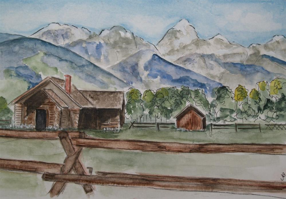"""Grand Tetons 6x 9 SOLD"" original fine art by Nancy Beard"