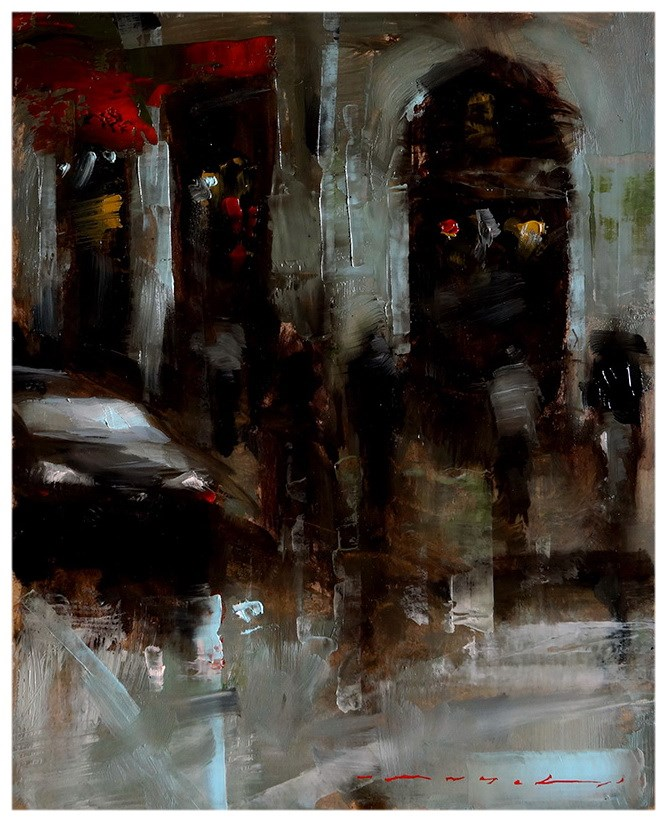 """20:30 - Urban Scene"" original fine art by Angel Angelov"