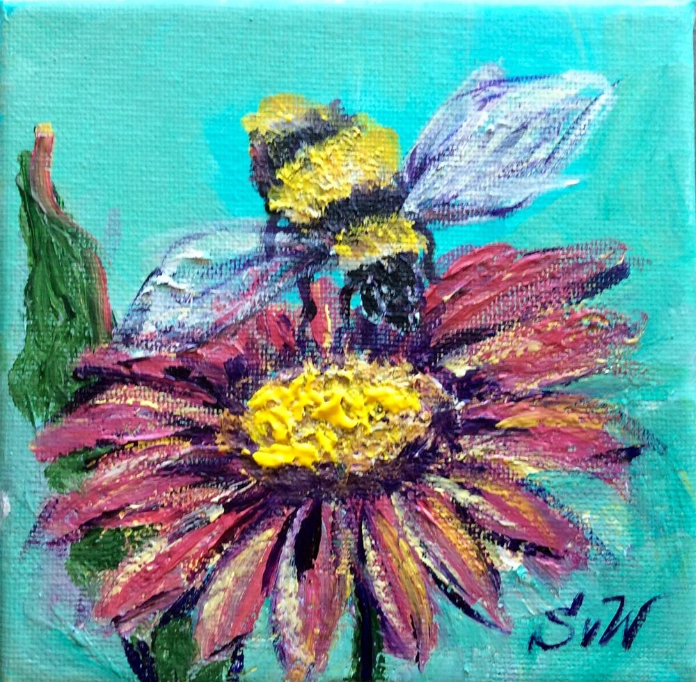 """Bee with a flower"" original fine art by Sonia von Walter"