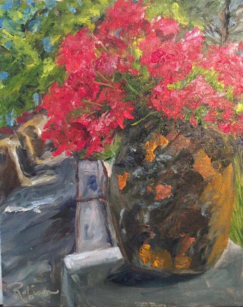 """Villa Cimbrone Geraniums"" original fine art by Renee Robison"