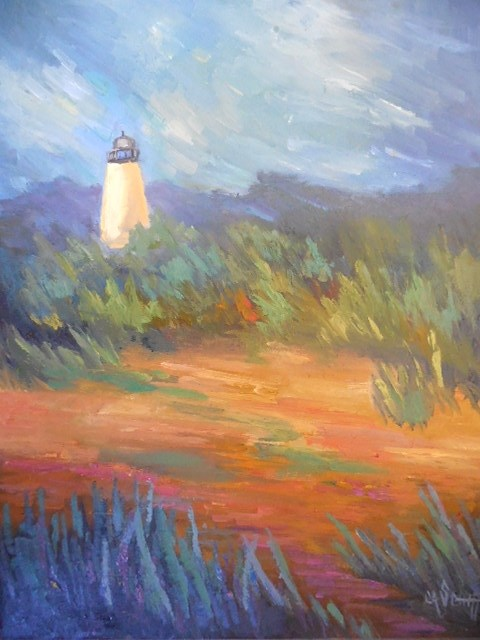 """Daily Painting, Lighthouse Painting, Small Oil Painting, Lighthouse on the Marsh 11x14 Oil"" original fine art by Carol Schiff"