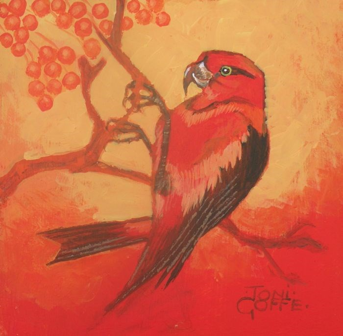 """Crossbill"" original fine art by Toni Goffe"