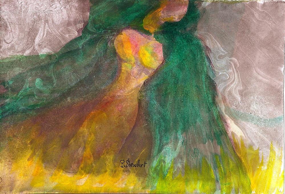 """5x7 Lady in Green Hooded Cloak Marbled background Watercolor Penny StewArt"" original fine art by Penny Lee StewArt"