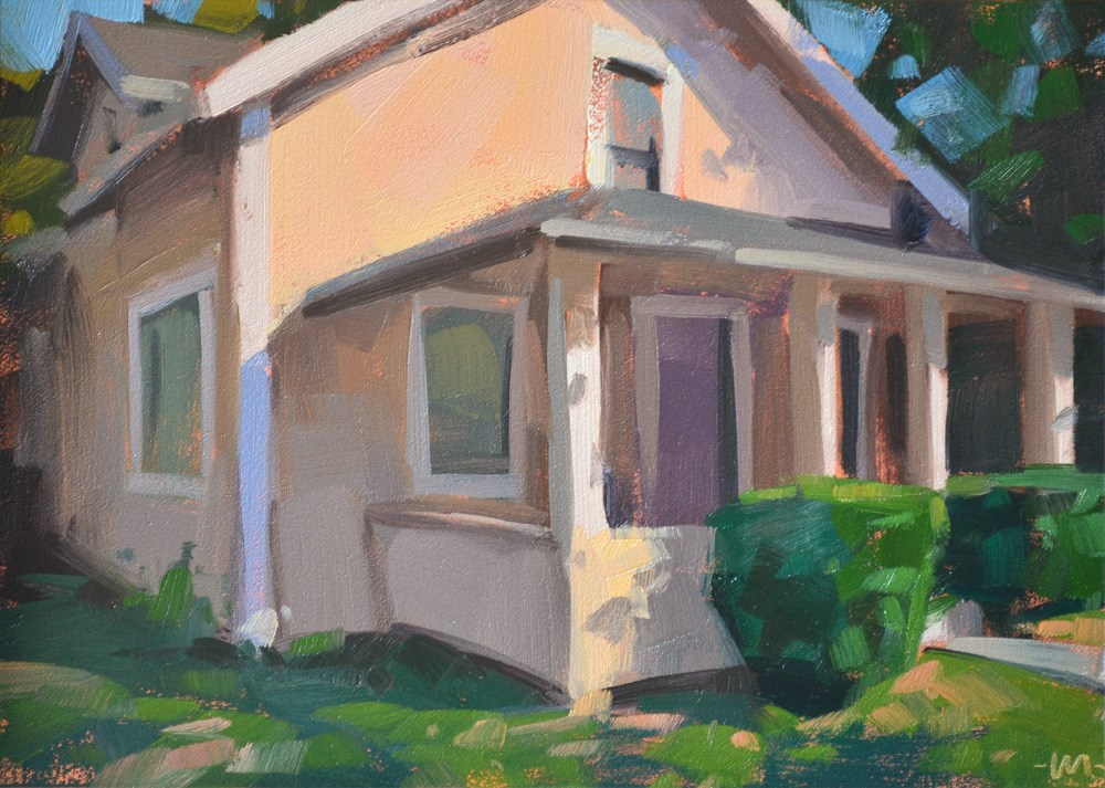 """Peachy House"" original fine art by Carol Marine"