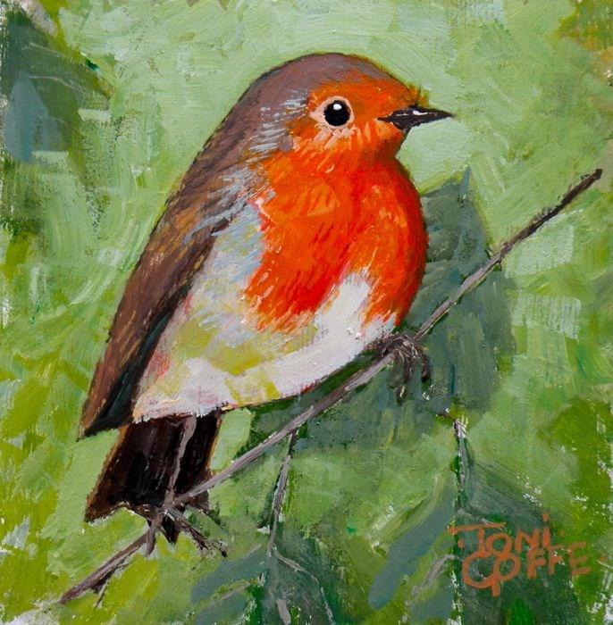 """Robin"" original fine art by Toni Goffe"
