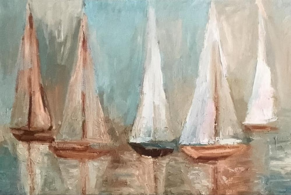 """Sailboats"" original fine art by Claudia Finn"