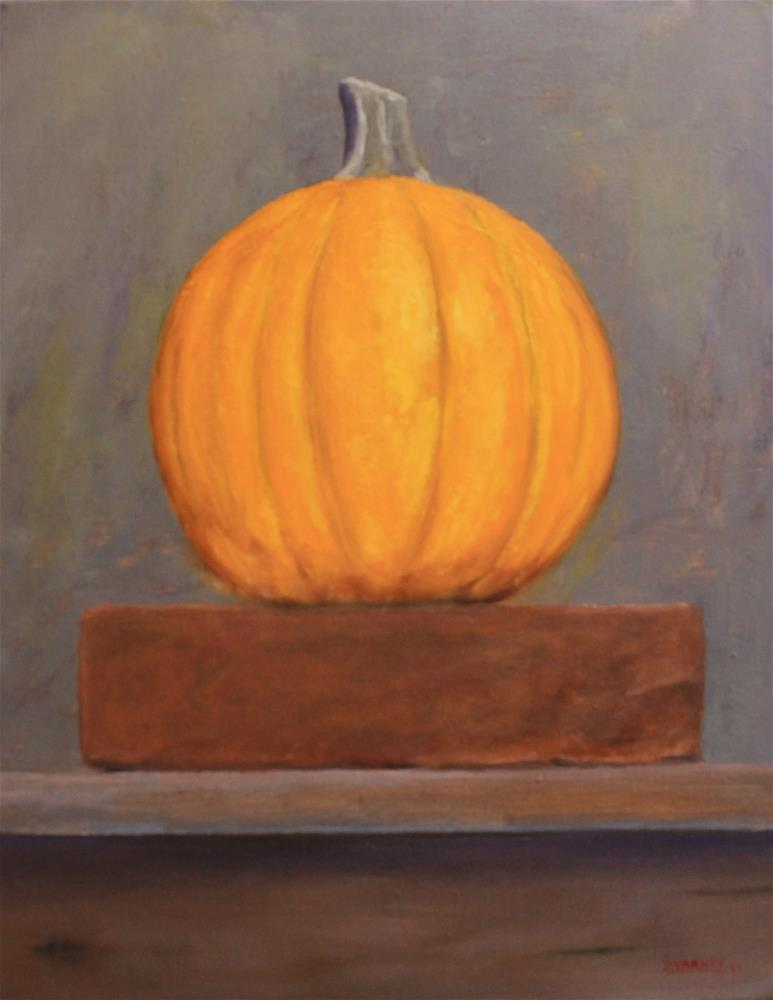 """Pumpkin on brick"" original fine art by Daniel Varney"
