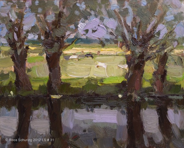 """""""Landscape spring #31 Contemplating. and Light reflections 4 willows and sheep - Weiland wilgen"""" original fine art by Roos Schuring"""