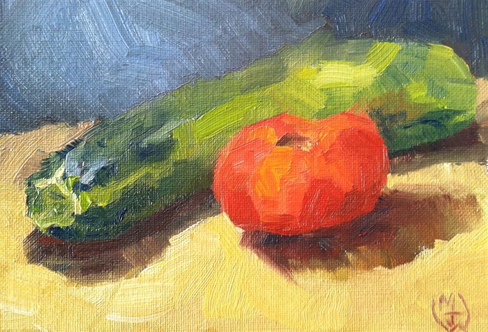 """Cucumber and Tomato"" original fine art by Michael Williamson"