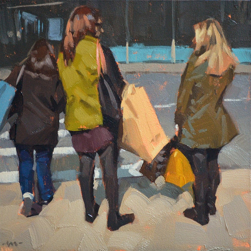 """Big Shopping Day"" original fine art by Carol Marine"