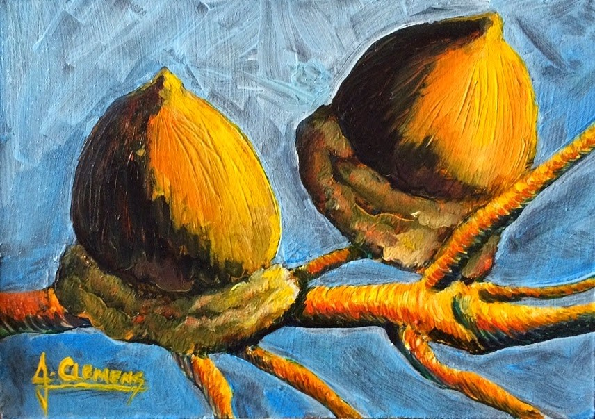 """Acorns"" original fine art by Jolynn Clemens"