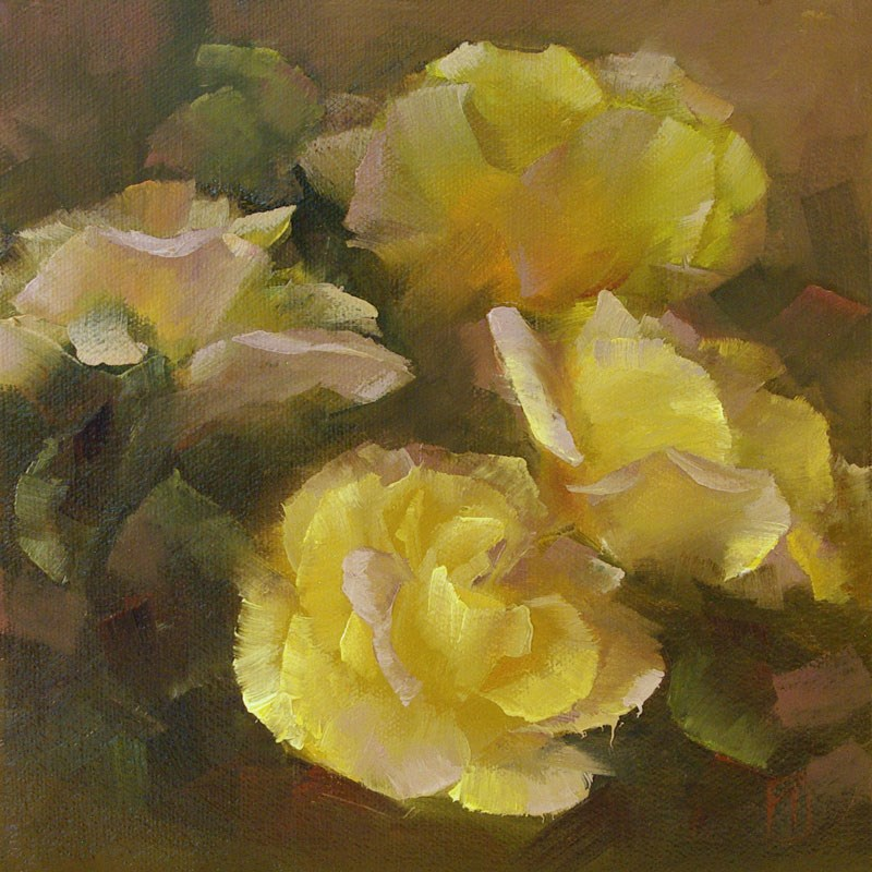 """Yellow Rose Study 2"" original fine art by Lori Twiggs"