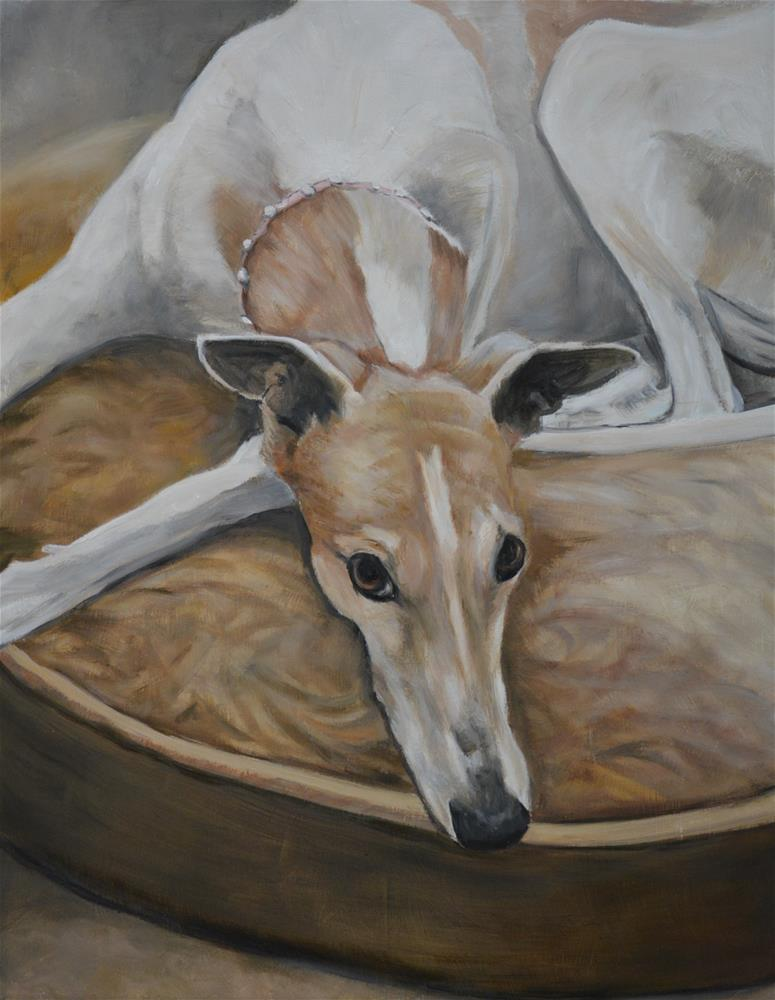 """Fanny the Greyhound"" original fine art by Charlotte Yealey"