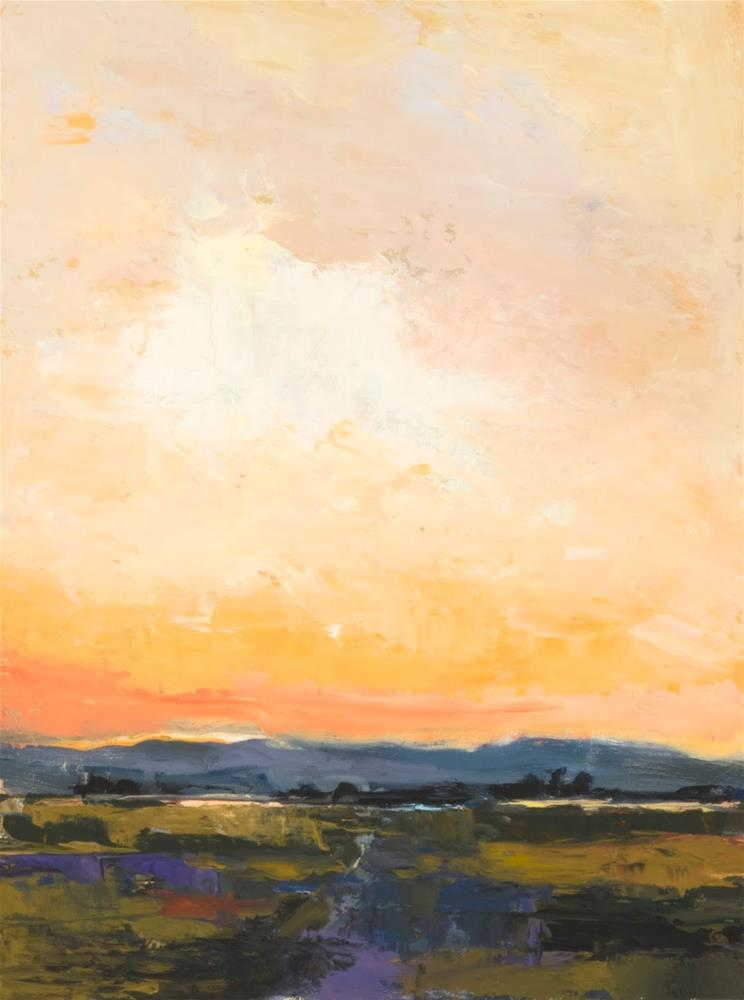 """KM3049 Twilight's Silence by Colorado artist Kit Hevron Mahoney (16x12, oil, landscape,twilight, lat"" original fine art by Kit Hevron Mahoney"