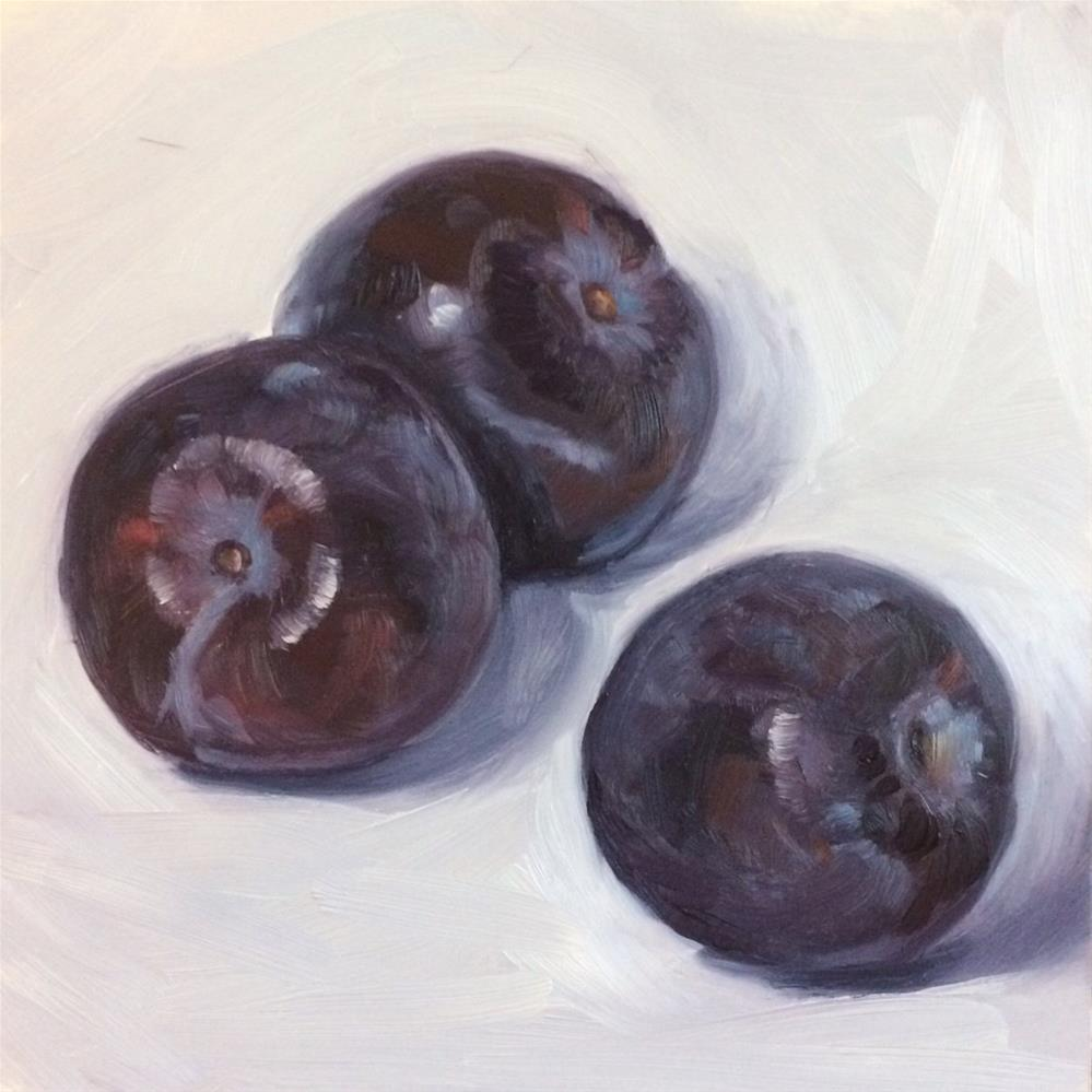 """Plums - three"" original fine art by Beth Moreau"