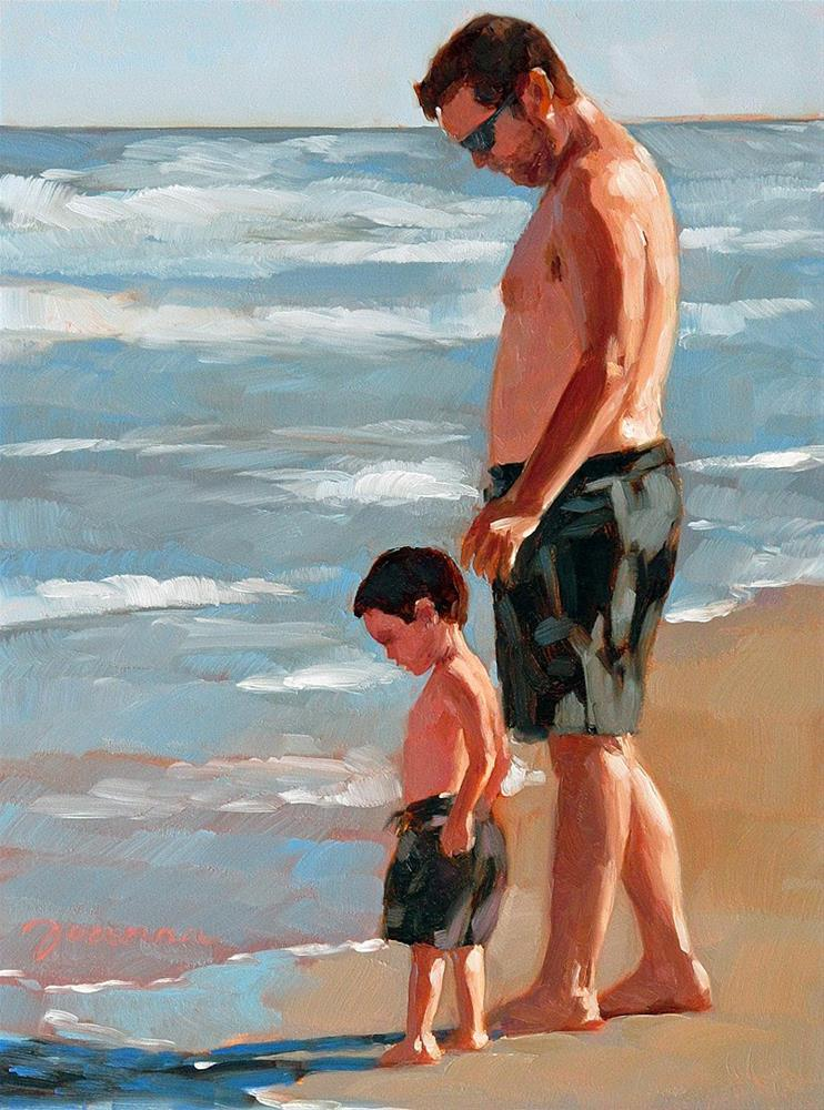"""The Guardian--Series Painting of Father and Child on the Beach"" original fine art by Joanna Bingham"