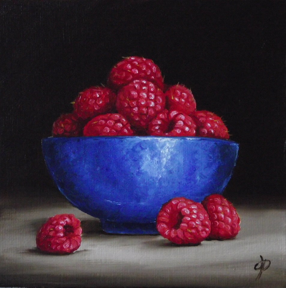 """Raspberry bowl"" original fine art by Jane Palmer"