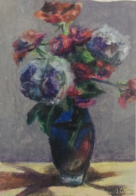 """Flowers in Blue Vase"" original fine art by Karen Collins"