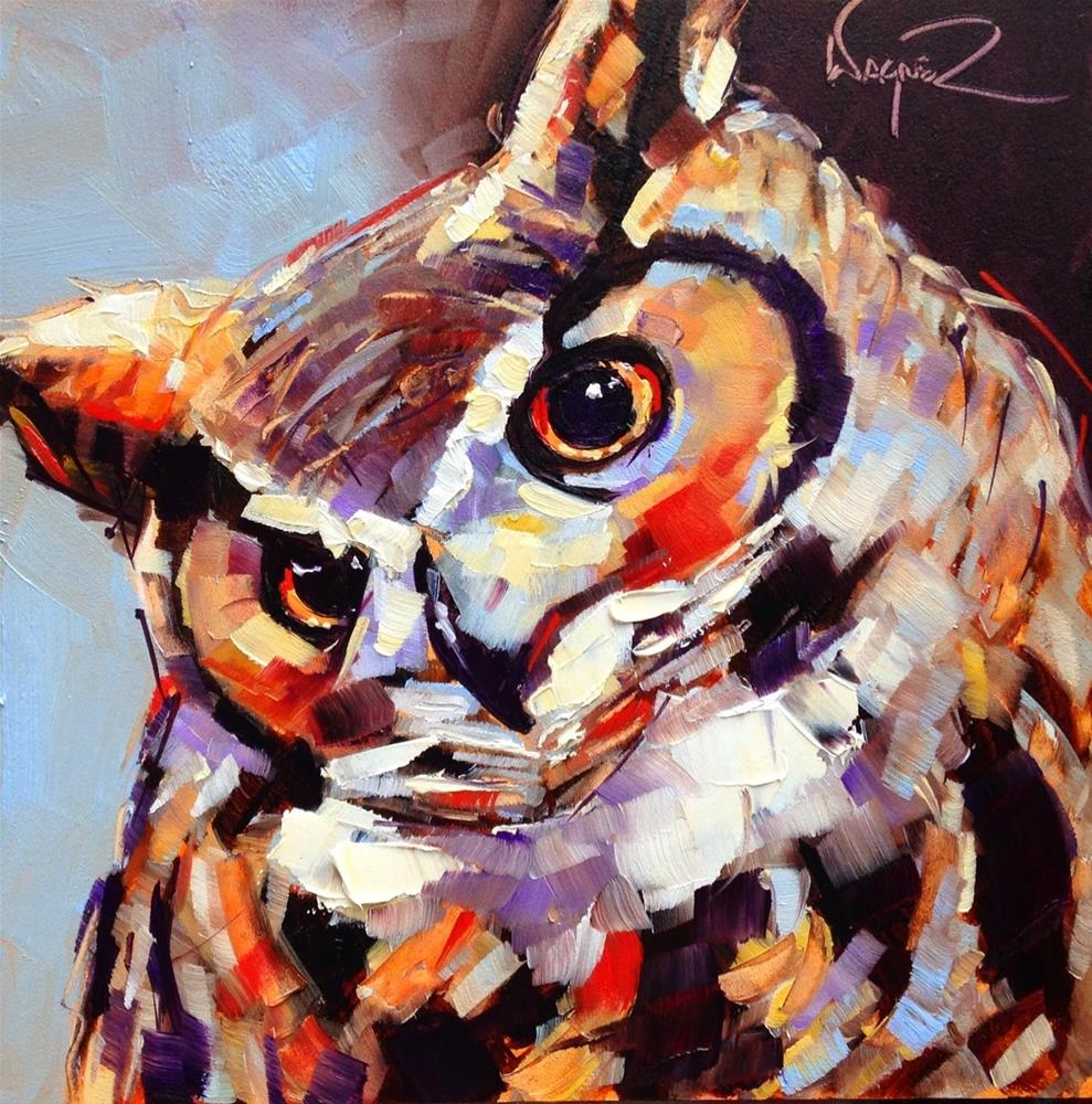 """CONTEMPORARY OWL PAINTING in OILS by OLGA WAGNER"" original fine art by Olga Wagner"