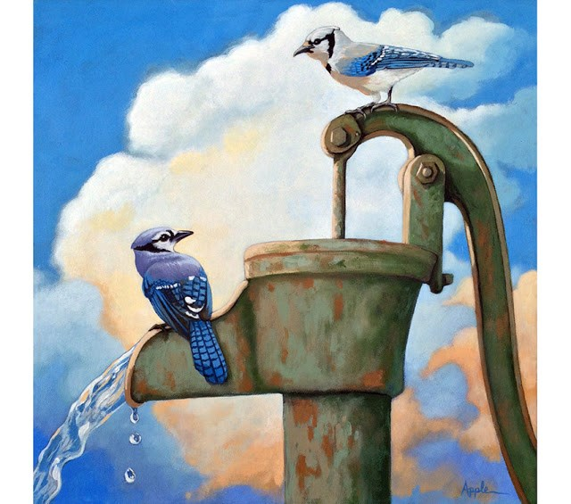 """Blue Jays on Old Water Pump Bird realistic animal portrait painting"" original fine art by Linda Apple"