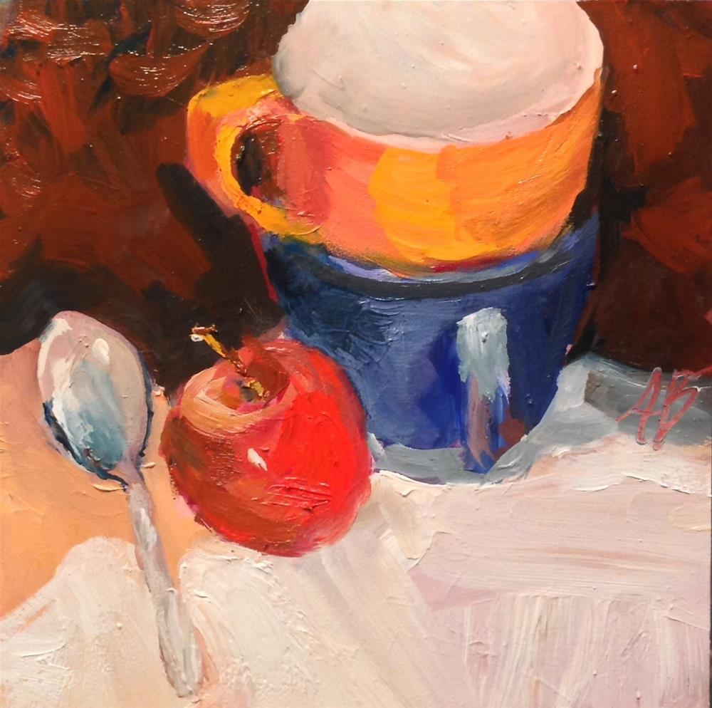 """Orange cup in Blue cup"" original fine art by Annette Balesteri"