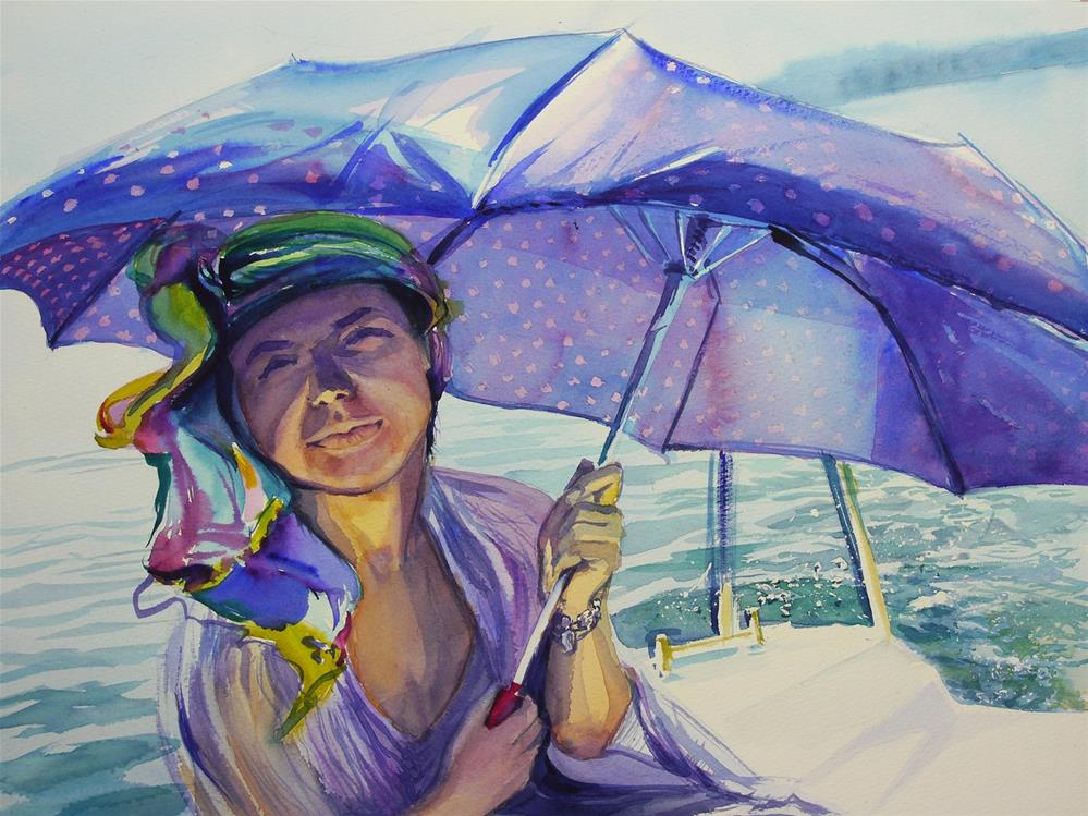 """sailing umbrella"" original fine art by Beata Musial-Tomaszewska"