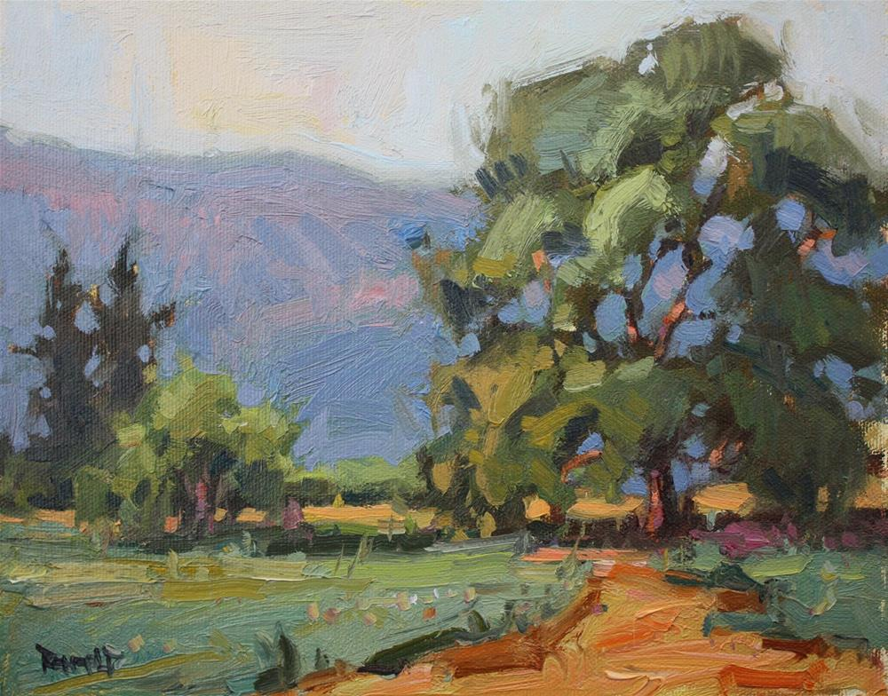 """More Trees and Pink Hills"" original fine art by Cathleen Rehfeld"