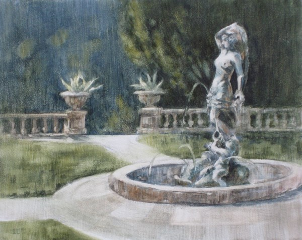 """Fountain at Kimberly Crest"" original fine art by Ginger Pena"