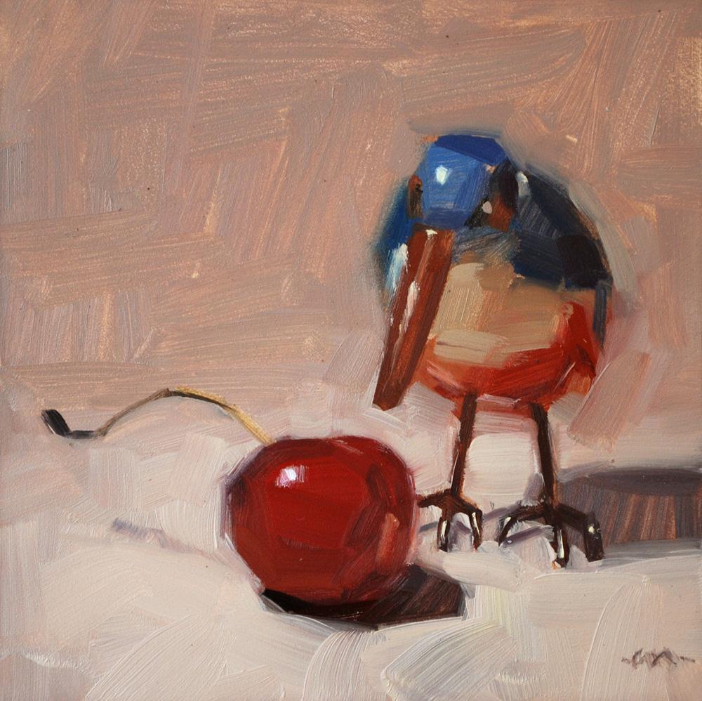 """Cherry Bird"" original fine art by Carol Marine"