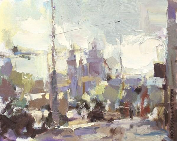 """CA01-2014 Schuring Cityscape Amsterdam St. Nicholas"" original fine art by Roos Schuring"