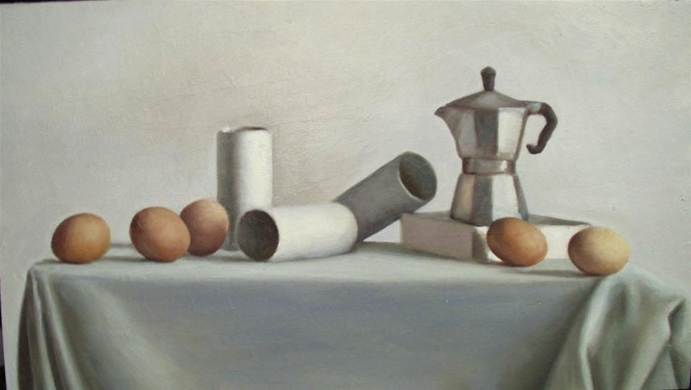 """Cafettiera and Eggs"" original fine art by Megan Schembre"