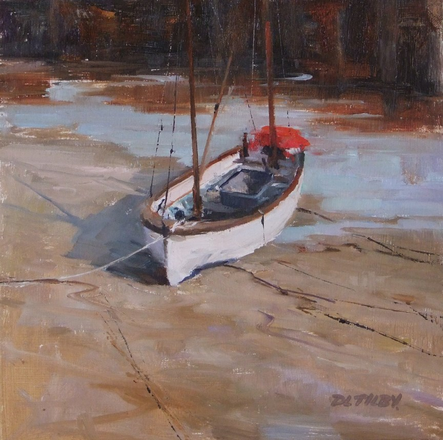 """Small Boat in Rye Harbour"" original fine art by Deborah Tilby"