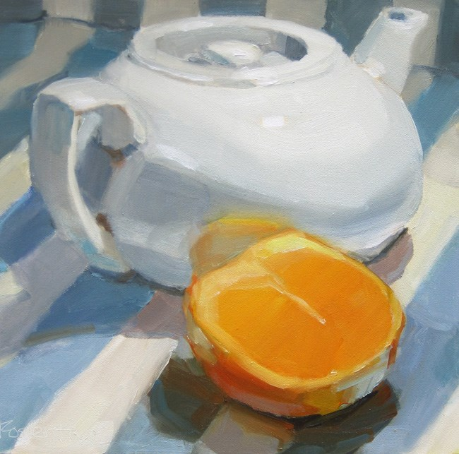"""White Teapot and Sliced Orange"" original fine art by Robin Rosenthal"