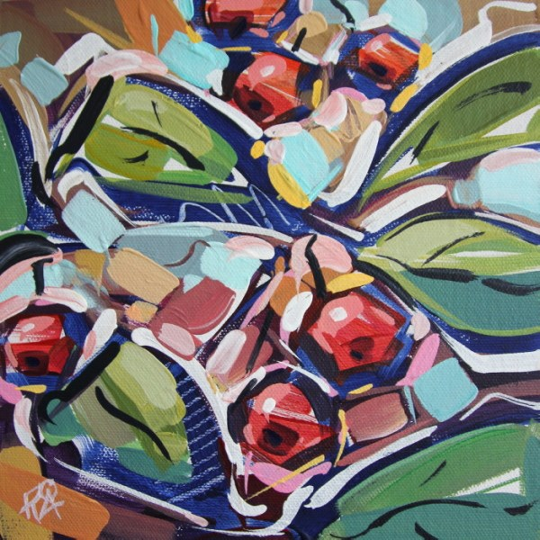 """Autumn Berry Abstraction 25"" original fine art by Roger Akesson"