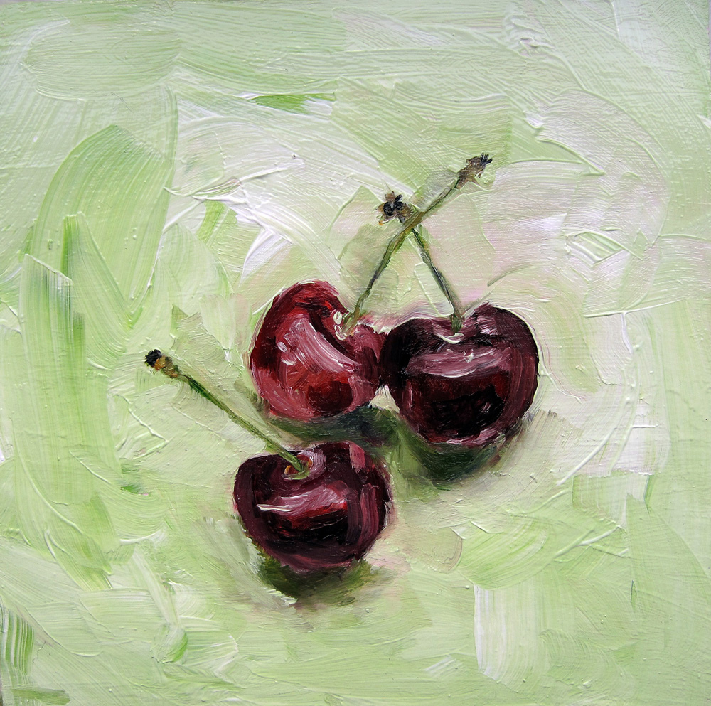 """Three Cherries"" original fine art by Ulrike Miesen-Schuermann"