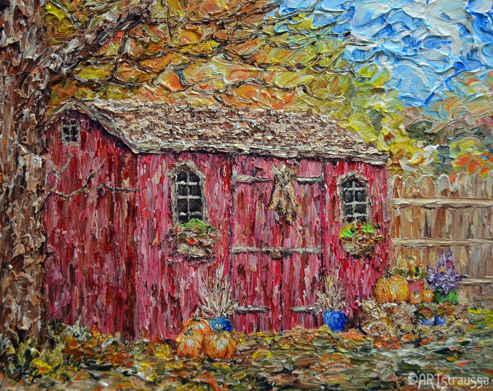 """Adorned Autumn Shed"" original fine art by Gloria Ester"