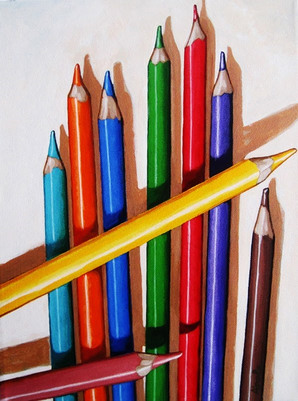 """Color the Day Happy - still life colored pencils painting by Linda Apple"" original fine art by Linda Apple"