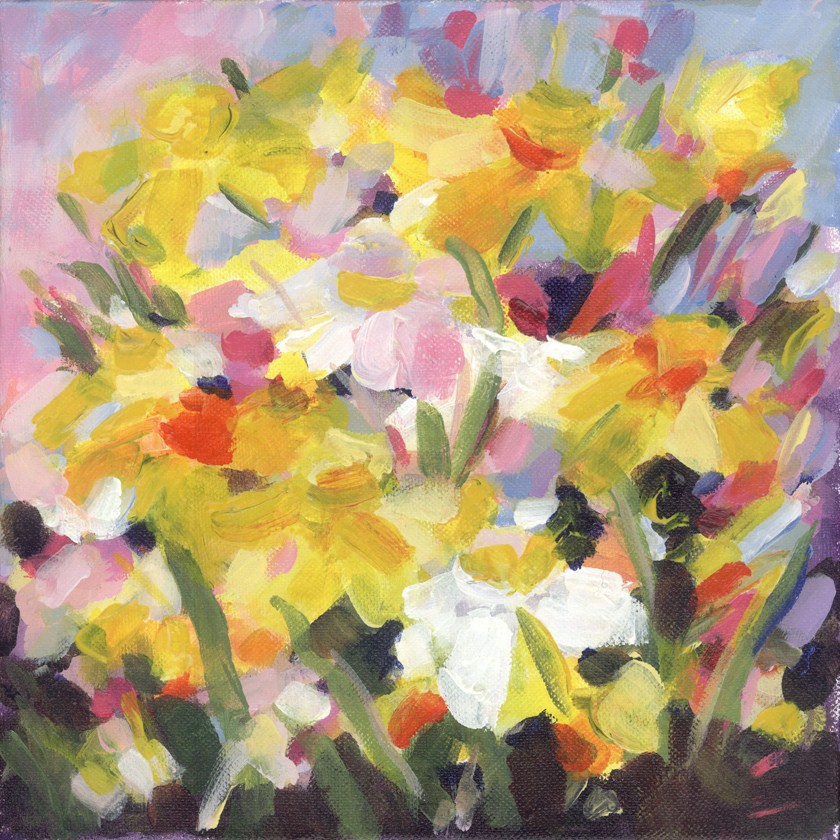 Greenbrier Daffodils original fine art by Pamela Gatens
