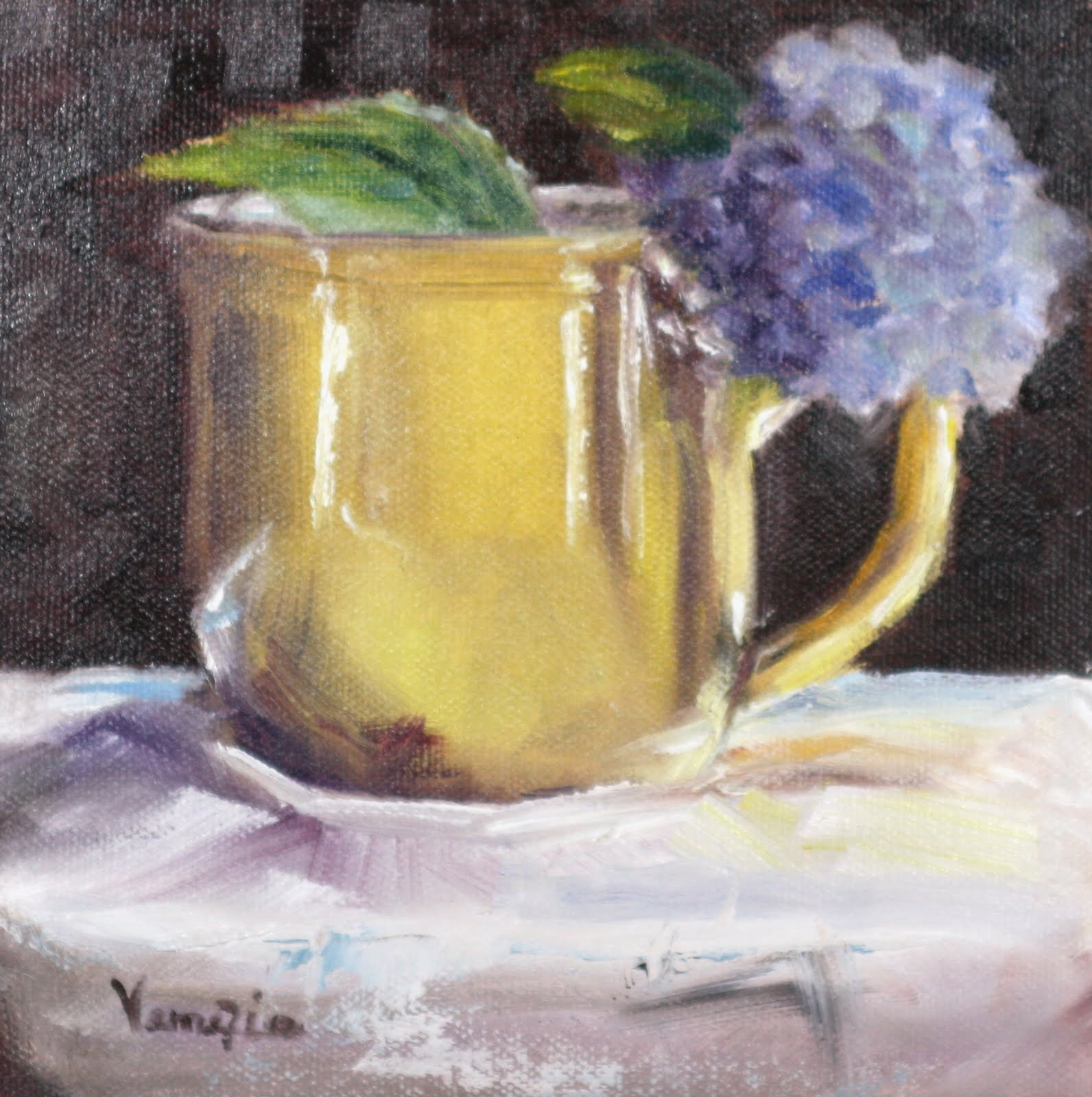 """""""oil painting still life with yellow cup and blue hydrangea"""" original fine art by Carrie Venezia"""