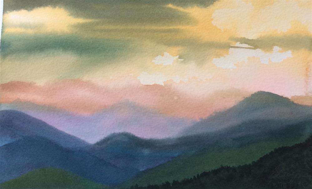 """""""Sunset Over the Mountains"""" original fine art by Sharyn Fogel"""