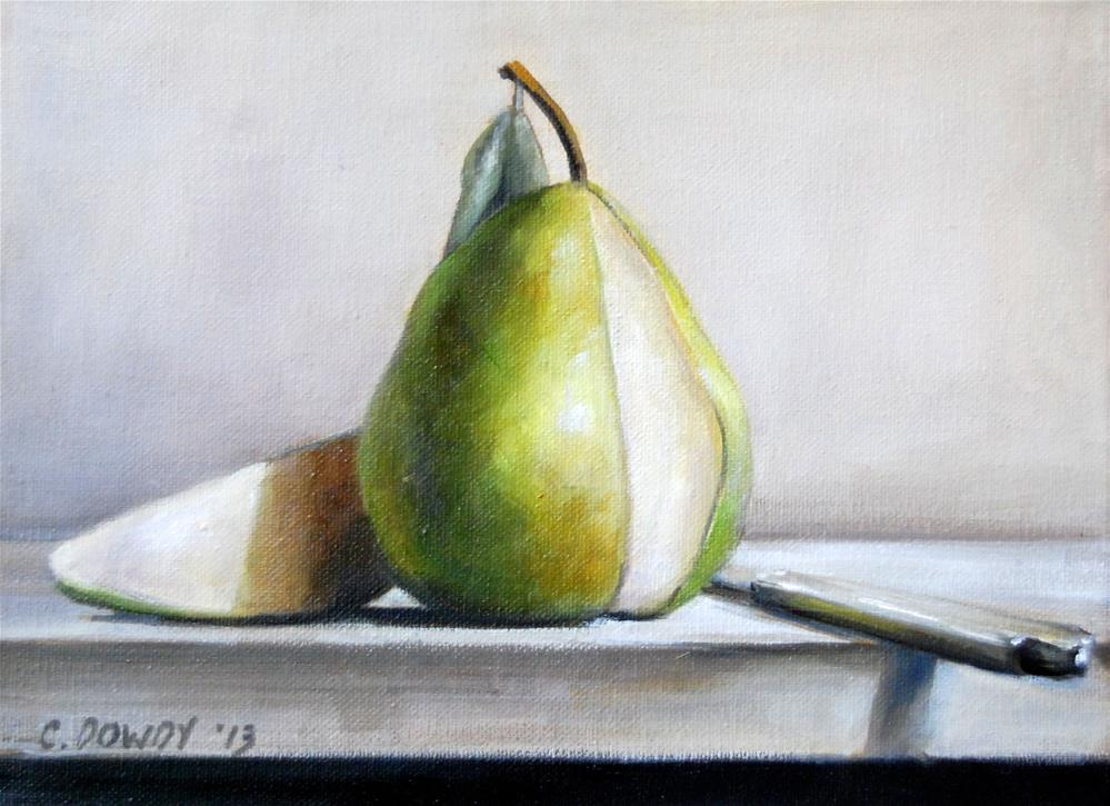 """Sliced Pear with Knife"" original fine art by Christina Dowdy"