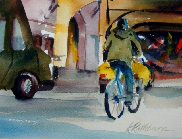 """Four Color Transportation"" original fine art by Kathy Los-Rathburn"
