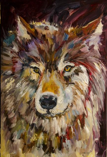 """ARTOUTWEST DIANE WHITEHEAD FINE ART WOLF LINEN WILDLIFE ART"" original fine art by Diane Whitehead"