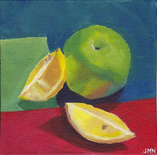 """Apple and Lemons"" original fine art by J M Needham"