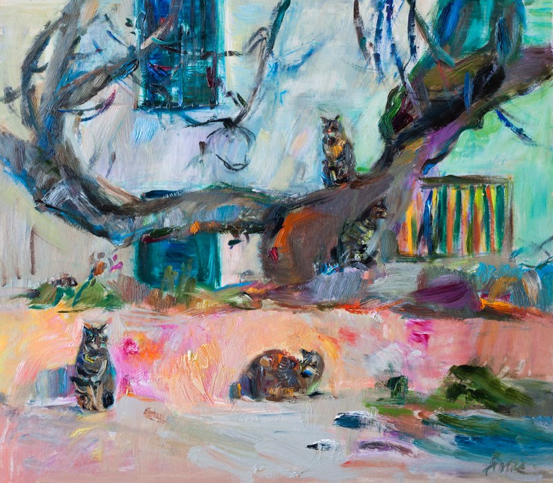"""Four cats"" original fine art by Anna  Fine Art"